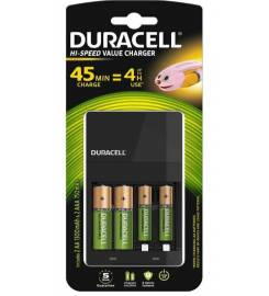 DURACELL CEF 14 CHARGER WITH 2 AA AND 2 AAA BATTERIES