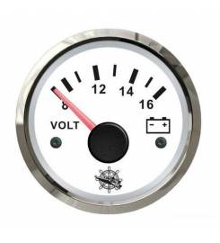 VOLTMETER 8-16 V WHITE WITH GLOSSY BODY
