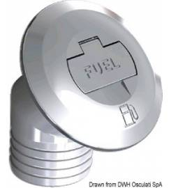 INCLINED FUEL CAP IN CHROMED BRASS WITH KEY