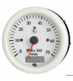 REV COUNTER 2/4 TIMES 12 V WHITE WITH HOUR METER