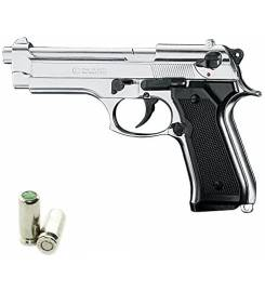 BLANK PISTOL REPLICA BRUNI 92 NICKEL PLATED CL.8