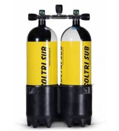 COLTRI SUB COUPLE 10 + 10 LITERS STEEL CYLINDER DOUBLE VALVE